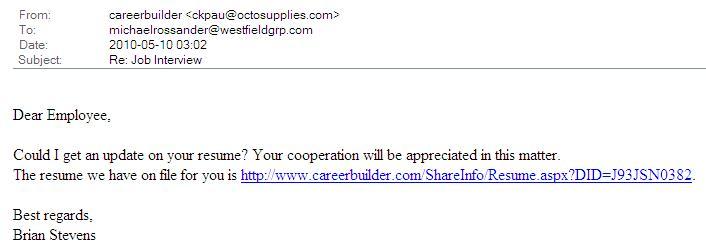 spoof careerbuilder email